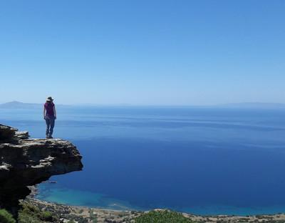 Blick über das Meer auf dem Andros Trail