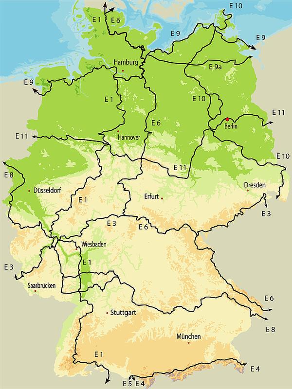 Karte Europäische Fernwanderwege