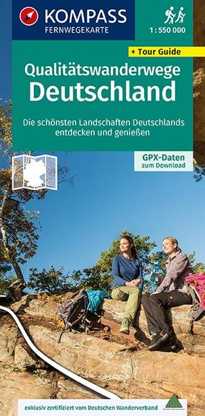 KOMPASS Fernwegekarte Qualitätswanderwege Deutschland