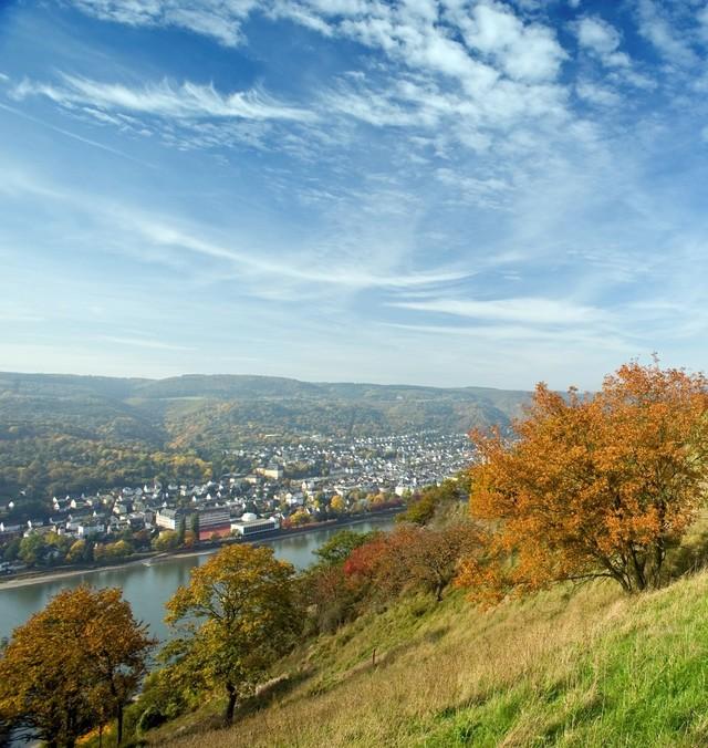 Wanderer unterwegs auf dem Rheinsteig